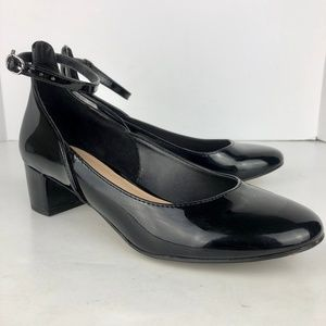 Kelly and Katie Valletti patent pumps ankle strap